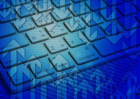青い背景に矢印付きのノート パソコンのキーボード