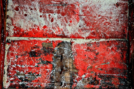 decayed: Wood with sand red paint. Grunge style background Stock Photo