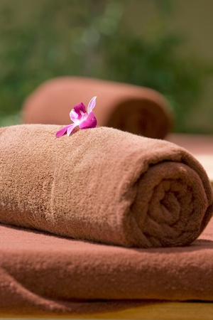 Brown towel on the table photo