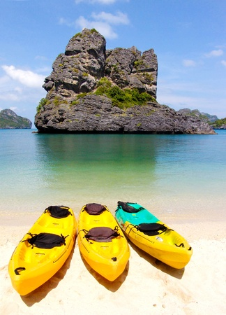 kayak on the beach in blue sky day Stock Photo