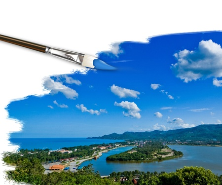 samui: artist brush painting picture of Landscape in Koh Samui, Thailand Stock Photo