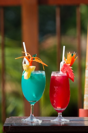 tropical drink: Cocktail Red and Blue fruit juice Stock Photo