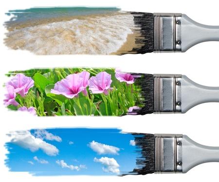 Brush and nature painting 3 style. Stock Photo - 10347499