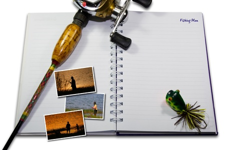bestcasting reel and rod with instant photo pictures on note book background photo