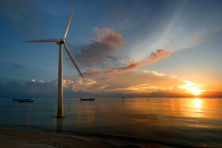 wind power plant: Wind at sunset in the sea