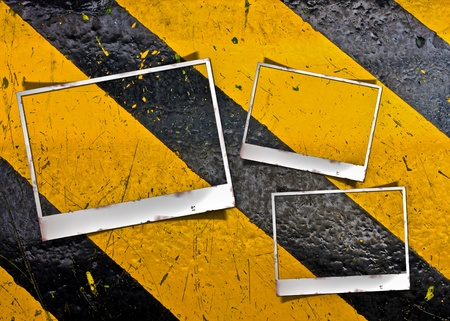 grunge striped construction background with frame