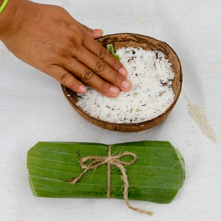 Hand touch coconut for spa photo