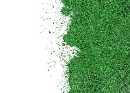 スプラッシュ ドロップで分離された緑の芝生