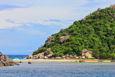 Long beach to the mountain at Koh Nangyuan, Thailand photo