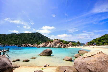 nangyuan: Relax on the beach at Koh Nangyuan, Thailand Stock Photo
