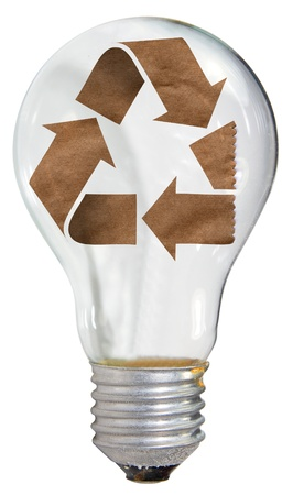 Recycle symbol in lamp concept design photo