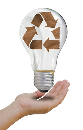 effectiveness: Recycle concept lamp mixed together with hand