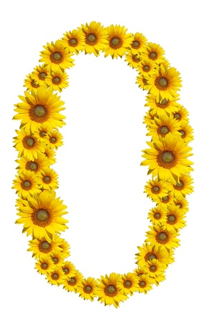 Number 0, Sunflower isolate on White background , Sunflower isolate on White background