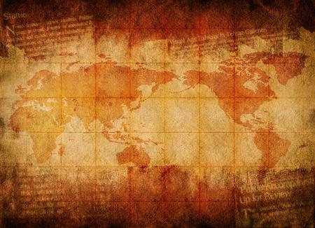 mappa del tesoro: Mappa del mondo su sfondo grunge per la progettazione