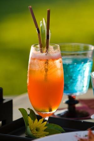 fruit orange juice on dining table Stock Photo - 10797722