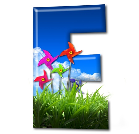 One letter of Nature alphabet and Toy wind turbine Stock Photo