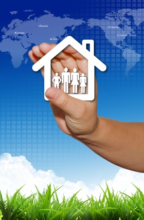 secure home: Hand present your home and family symbol