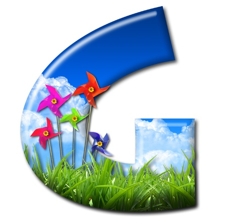 One letter of Nature alphabet and Toy wind turbine Stock Photo - 10948386