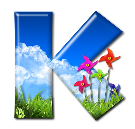 One letter of Nature alphabet and Toy wind turbine Stock Photo - 10948380