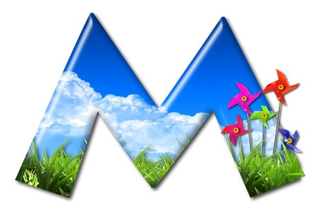 One letter of Nature alphabet and Toy wind turbine Stock Photo - 10948399