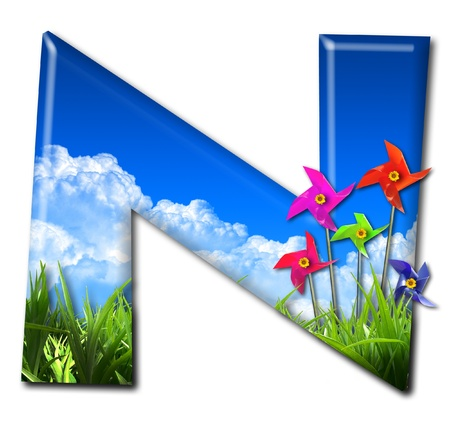 One letter of Nature alphabet and Toy wind turbine Stock Photo - 10948379