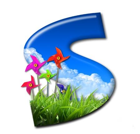 turbina de avion: Una letra del alfabeto de la naturaleza y la turbina eólica de juguete Foto de archivo