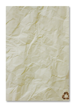 close up of recycle paper on white background