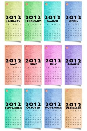 Calendar 2012 Colour Paper Background Stock Photo - 11057090