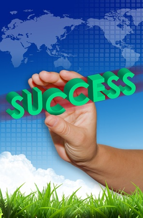 success business word in hand photo