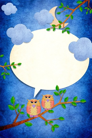 Owl bird in night day on papercraft background photo