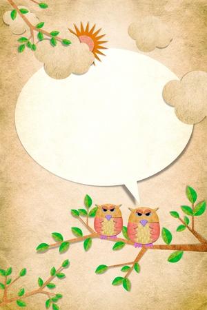 papel reciclado: Owl aves hablar con usted en el fondo papercraft