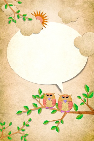 Owl bird talk with you on papercraft background photo