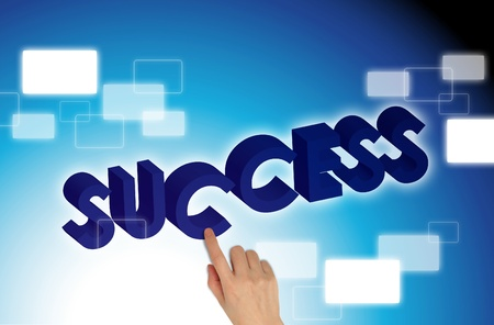 hands pushing success on blue background photo