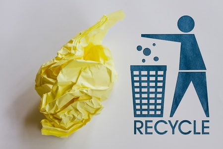 garbage disposal: Garbage Recycle with word and muld paper