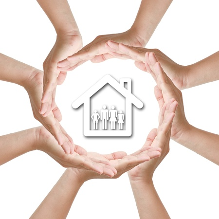 Multiracial woman hand around home family Stock Photo - 11058777
