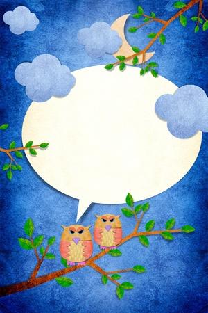 night stick: Owl bird in night day on papercraft background