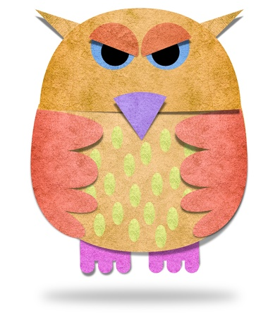 owls papercraft on white background photo