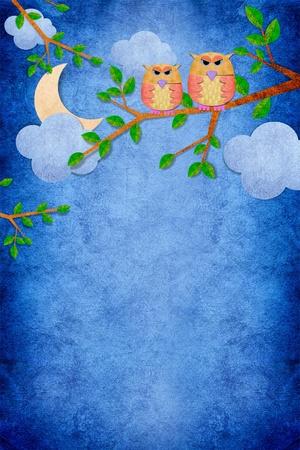 ペーパー クラフトの背景に夜のフクロウ鳥 写真素材