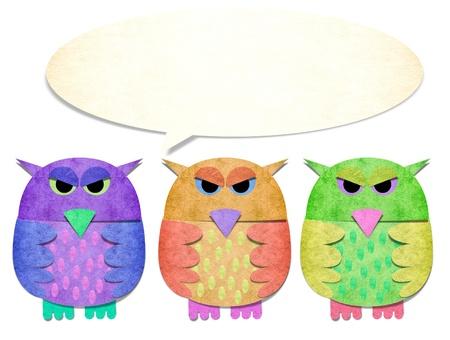 papercraft: 3 owls papercraft on white background