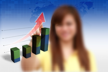 female pushing graph 3D on blue background. photo