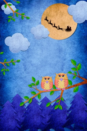 Owl bird in the day on paper craft background with santa