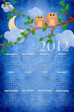 Owl calendar 2012 on paper craft background photo