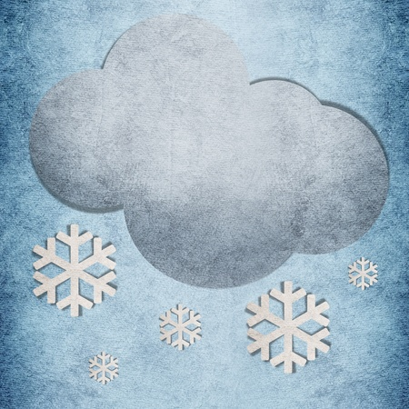 recycled water: Snow cloudy recycled papercraft symbol on blue background