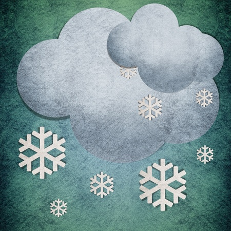 recycled water: Too many Snow cloudy recycled papercraft symbol on green background Stock Photo