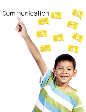 hand lifted: asian kid playing pointing communication on white background