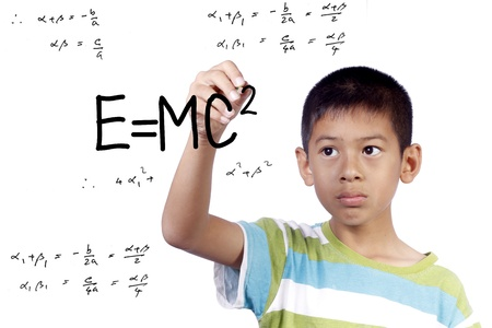 einstein: asian kid write draw E=mc2 on white background