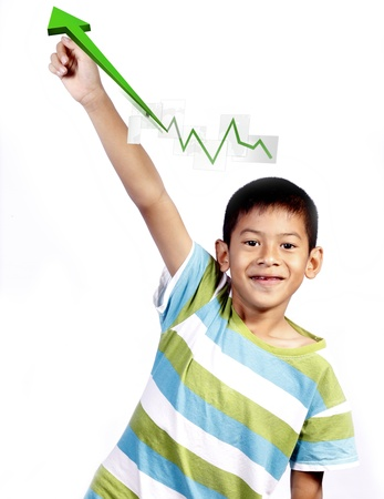 asian kid playing pointing business on white background