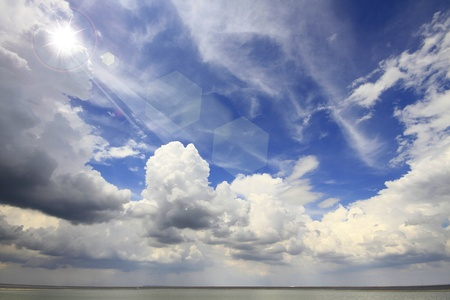 Amazing clouds with sun on Reservoir Stock Photo - 13130084