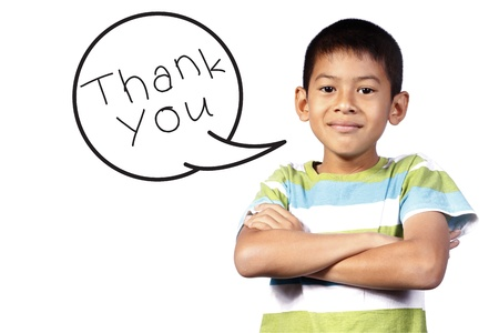 kid with Speech say thank you on white background photo
