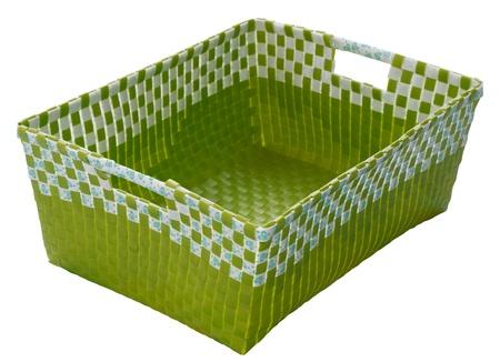 hamper: green weave plastic basket isolated on white Stock Photo